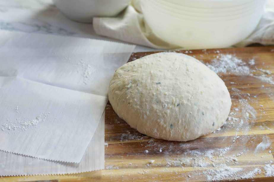 smooth ball of dough for herb artisan bread