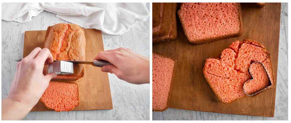 two images showing how to slice cake and cut out hearts