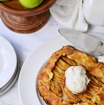 apple galette with vanilla ice cream