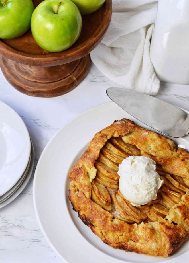 apple galette with vanilla ice cream