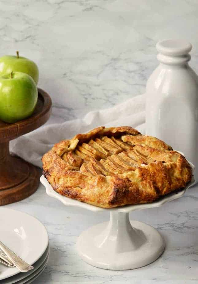 apple galette on white pedestal