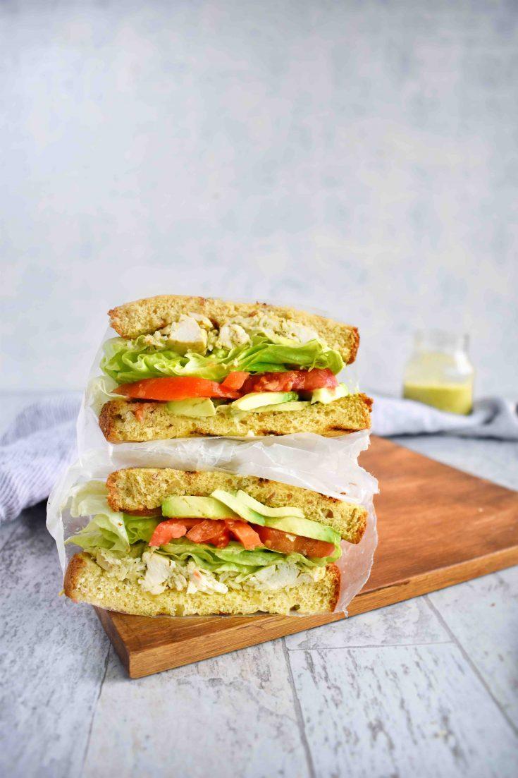 avocado chicken salad sandwich halves
