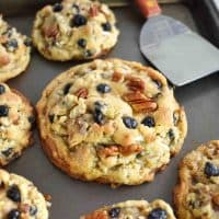 blueberry coconut pecan cookies on baking sheet, XL and mini size