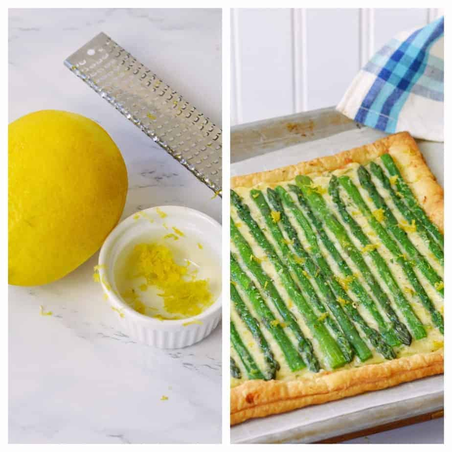 zesting a lemon and zest atop an asparagus tart