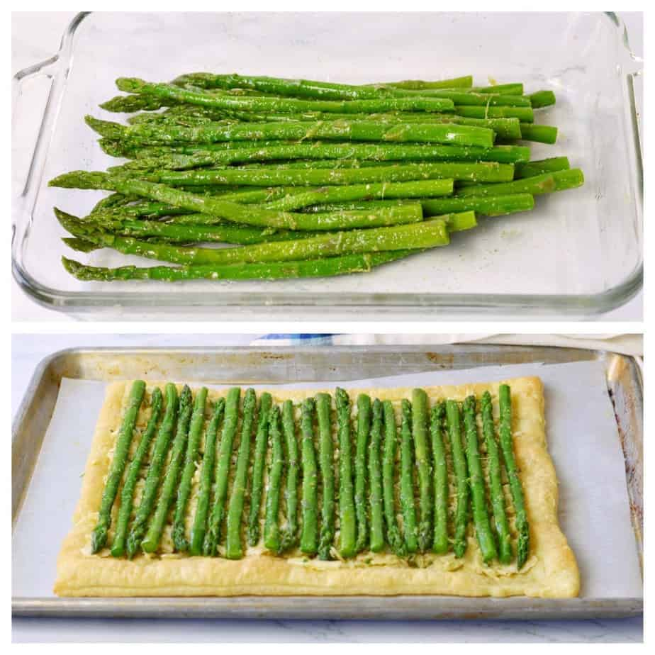 asparagus tossed with olive oil in a pan and laying atop a tart