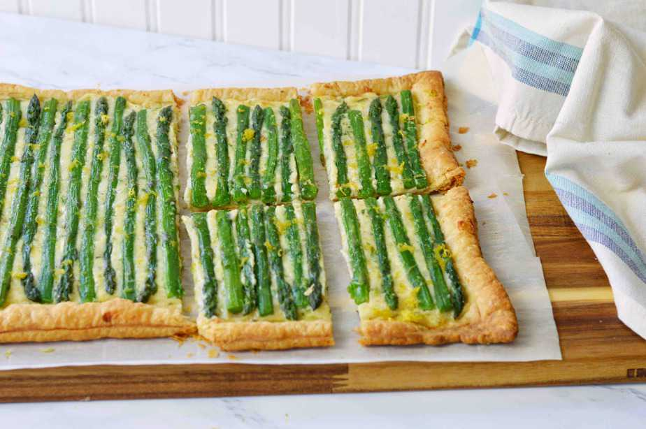 asparagus cheese tart cut into squares