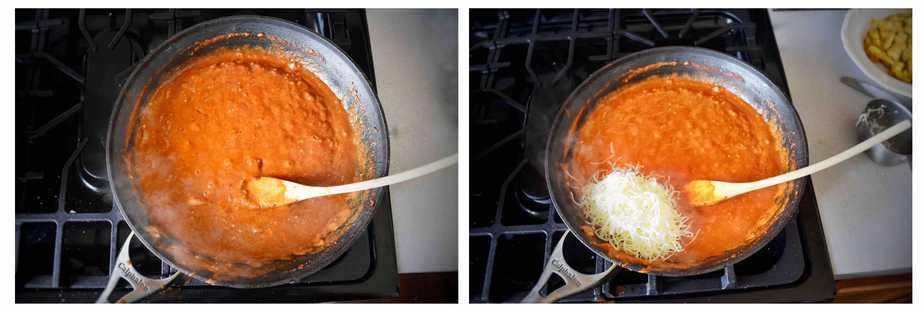 two images, chicken tikka masala sauce with cheese getting added in