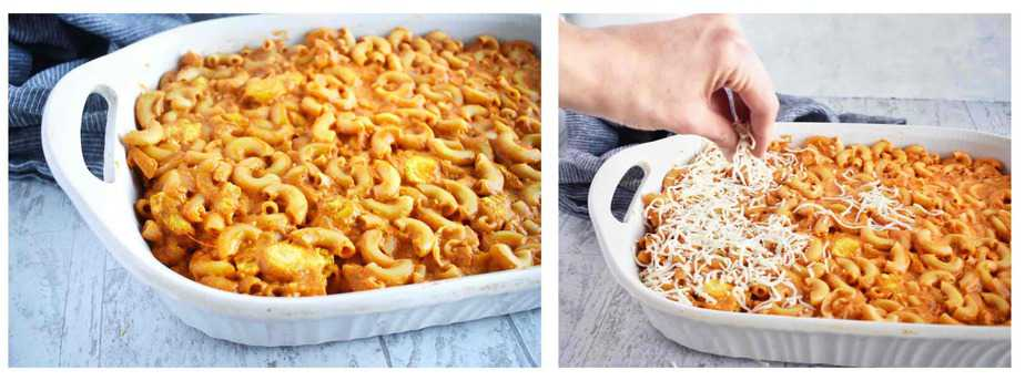 two images, pasta in baking dish and then cheese sprinkled on top of pasta