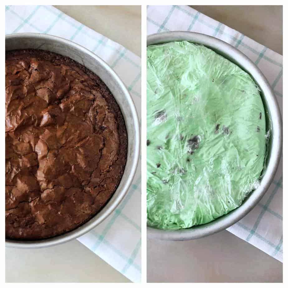 round pan with brownie, plus round pan with cake