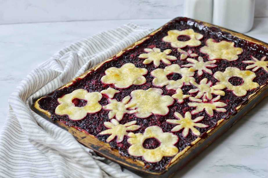 triple berry slab pie out of the oven