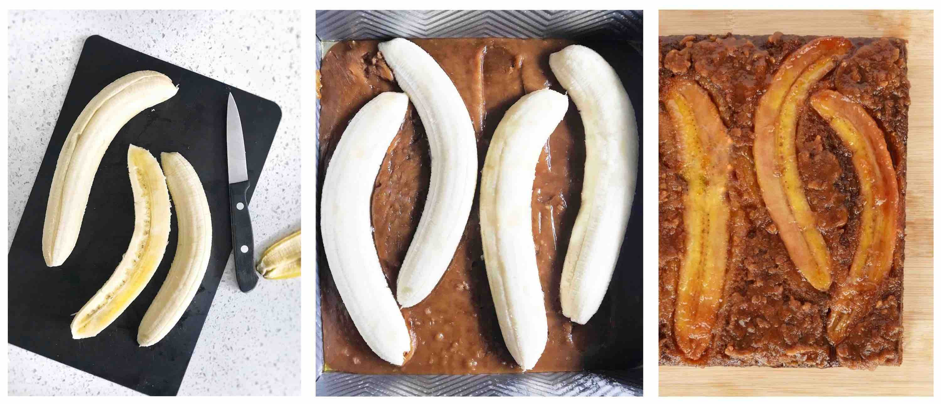 3 images, showing how to slice bananas long ways and arrange in caramel in bottom of pan