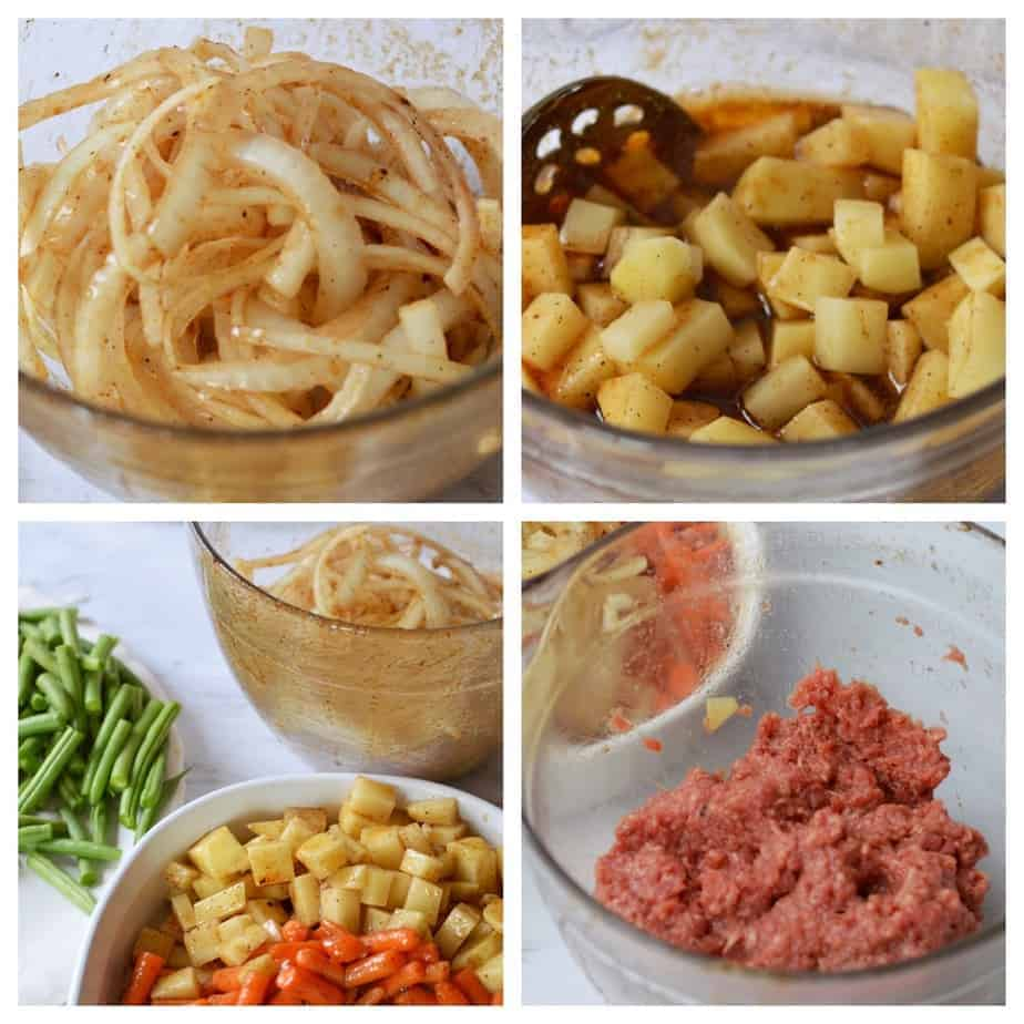 4 pictures of vegetables and ground beef in marinade