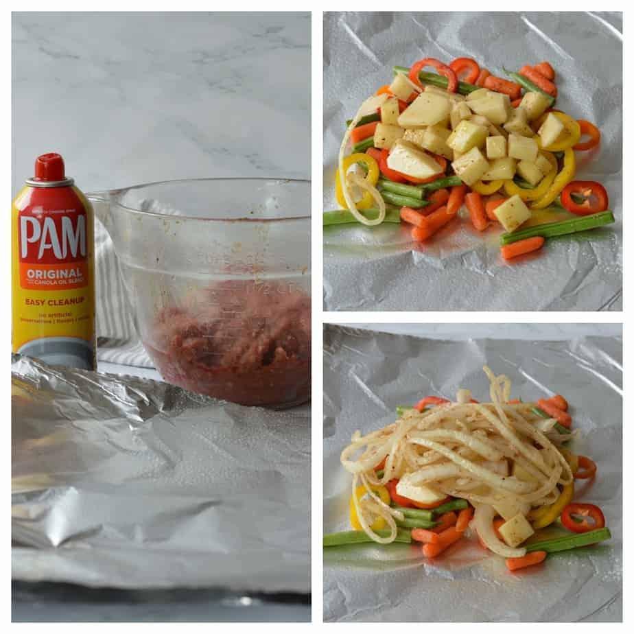 Foil dinner process picture of vegetables set on foil sheet