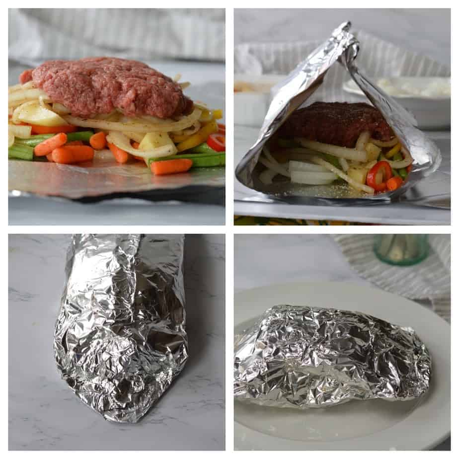 ground beef patty and vegetables on foil sheet and folded into a packet