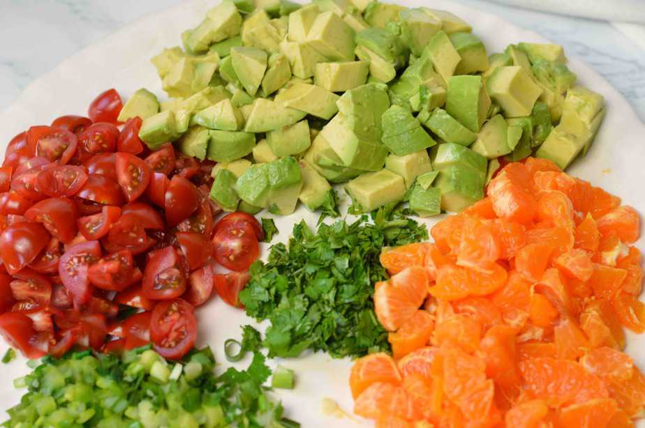 Chopped ingredients for mandarin guacamole
