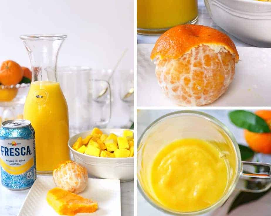 collage of orange mango freeze process pictures.