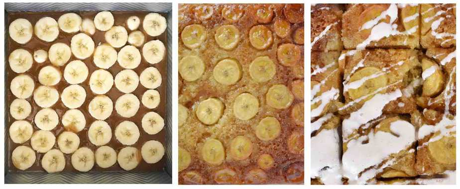 3 images, showing bananas cut in coins and arranged in caramel in bottom of pan