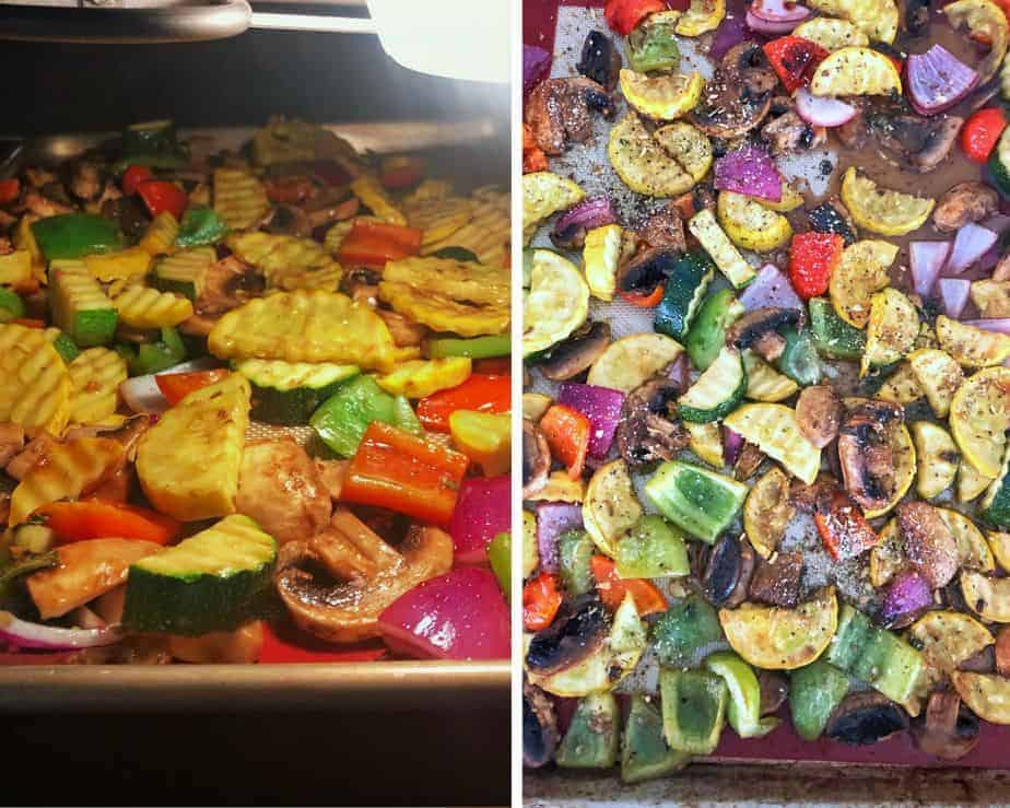 2 pictures of summer vegetables roasting with a balsamic glaze