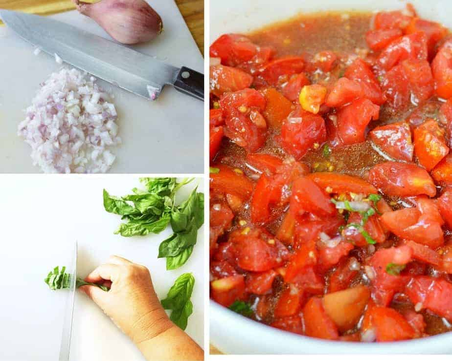 process picture: chopping shallots and basil for bruschetta