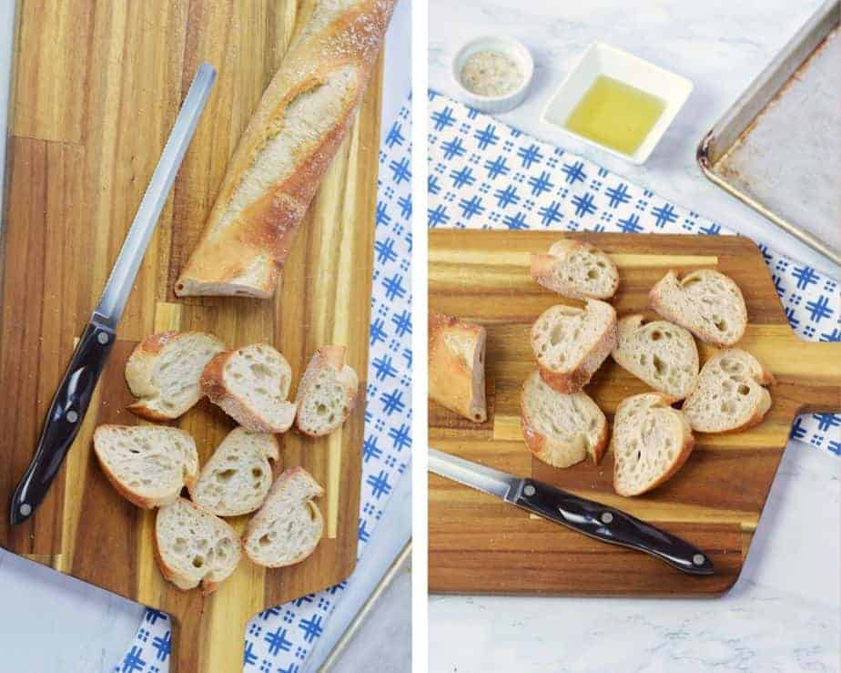 slices of bread and olive oil to make crostini