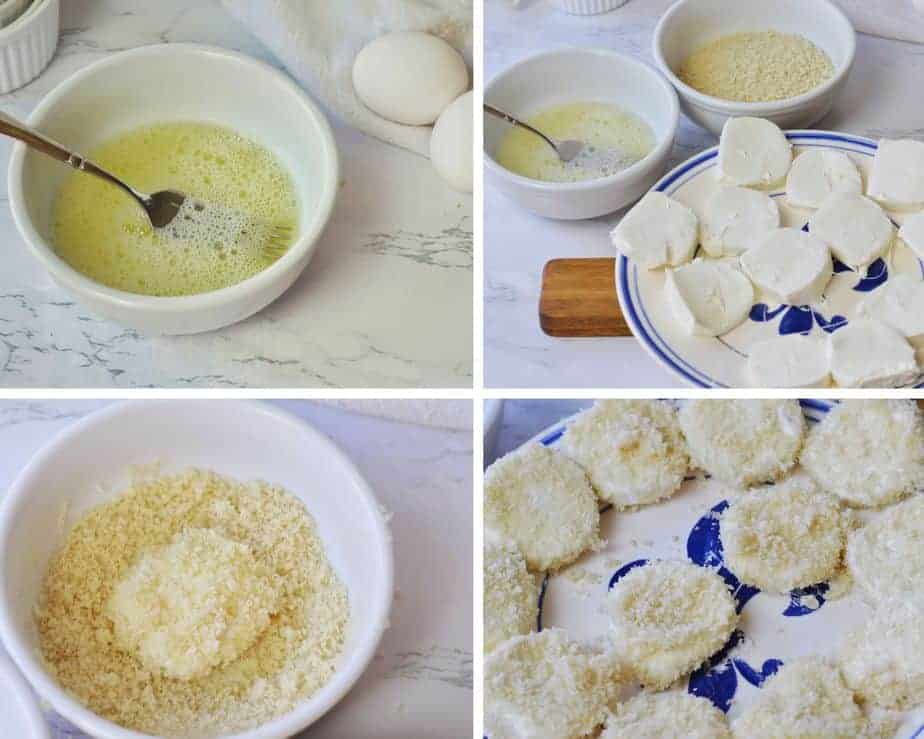 4 pictures showing how to dip goat cheese medallions in egg white and Panko crumbs