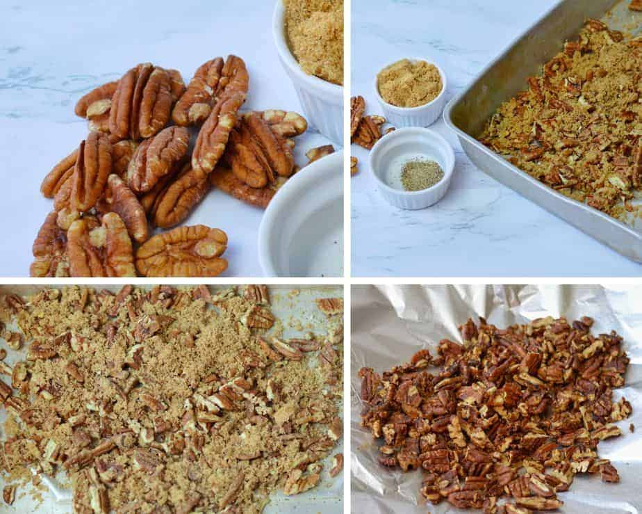 4 pictures showing how to roast pecans with brown sugar and pepper