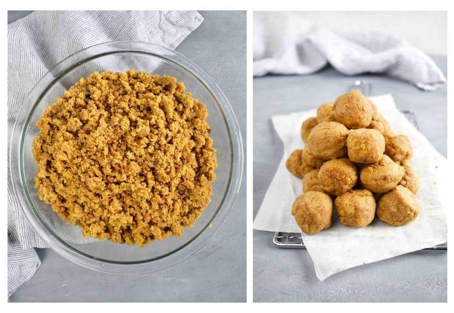 two images: 1 bowl of pumpkin bread cake crumbs, 2: stack of pumpkin cake balls with no chocolate coating