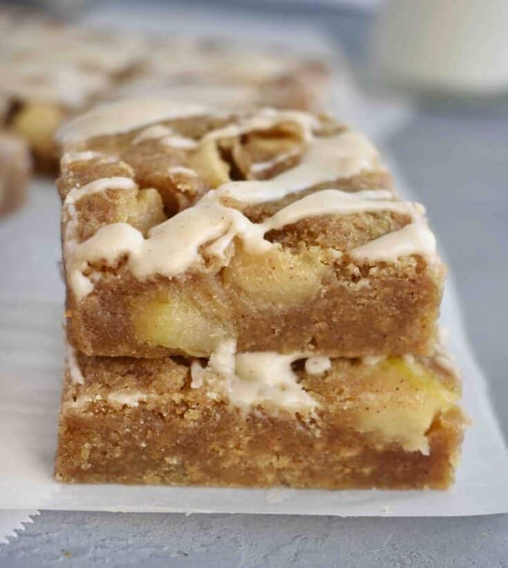 stack of two blondies on top of each other