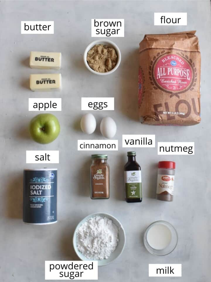 all ingredients laid out with labels above them.