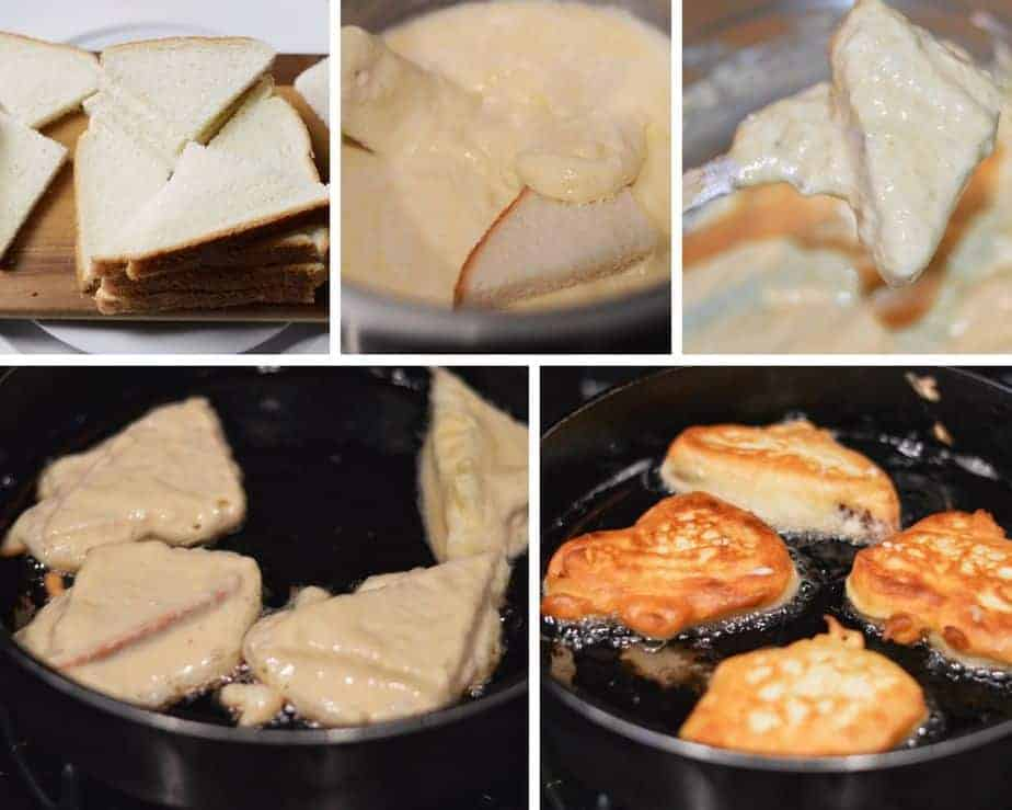 5 process pictures showing how to cut and dip bread in batter for fluffy French toast