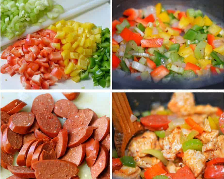 4 jambalaya process pictures: chopped vegetables, sautéing vegetables, sliced Cajun sausage and a pot of jambalaya cooking