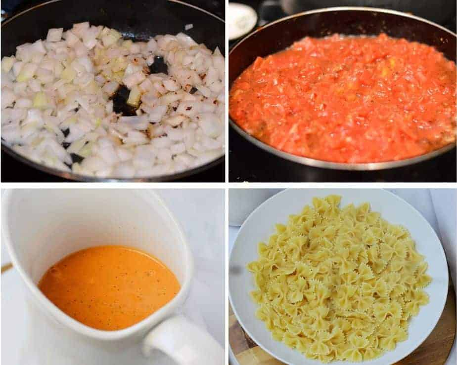 4 jambalaya process pictures: sautéing onions, cooking tomatoes for tomato sauce, and a bowl of bow tie pasta