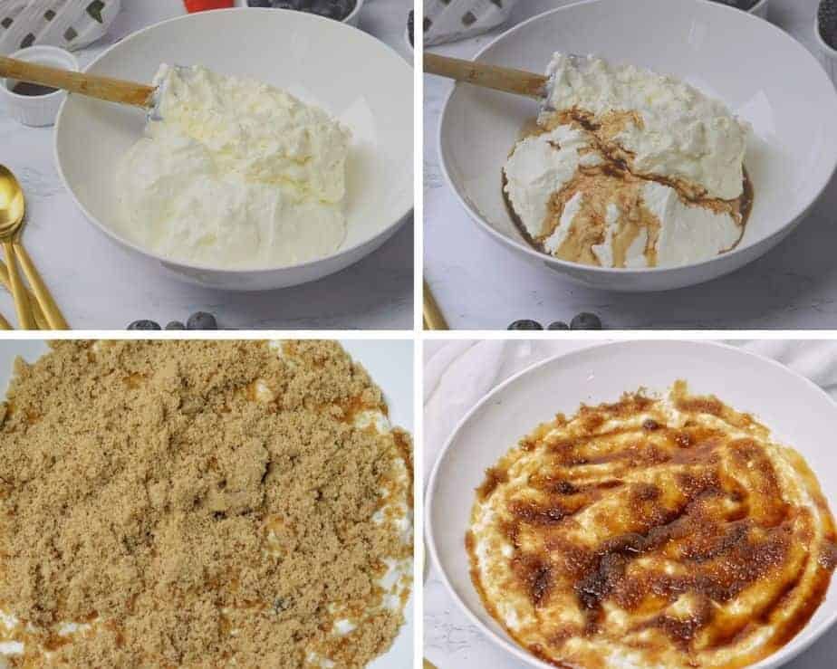 4 process pictures adding whipping cream, vanilla and brown sugar to plain Greek yogurt