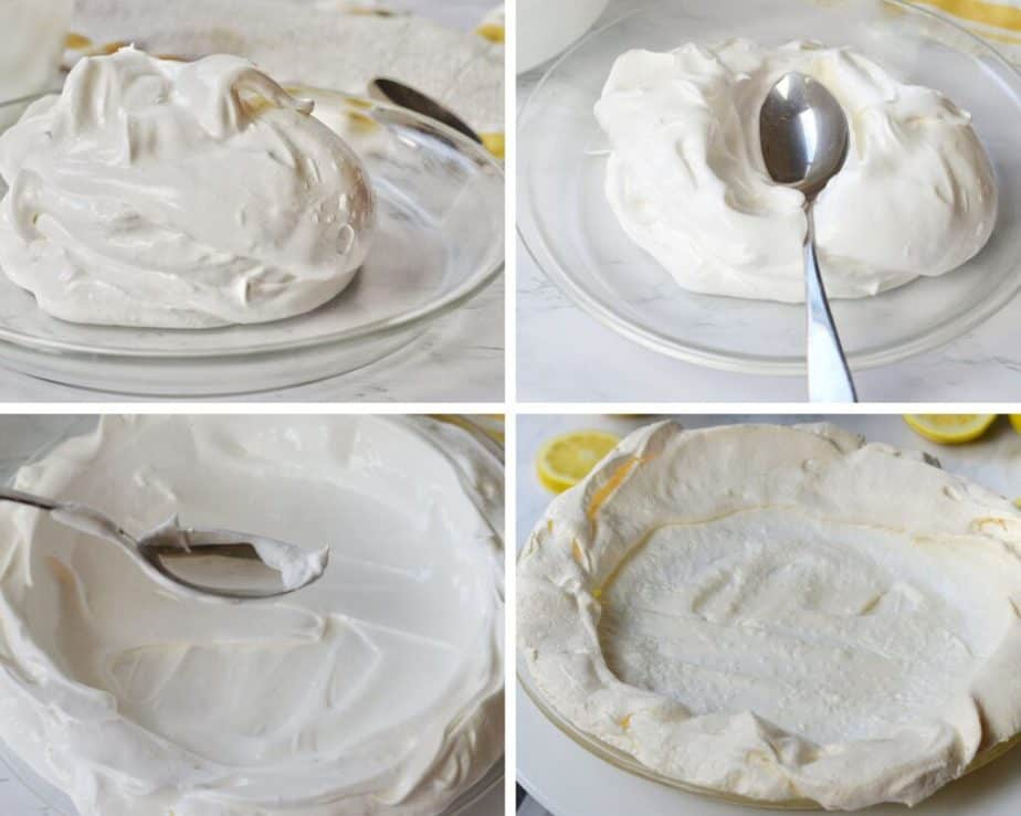 process pictures of meringue in a clear pie dish and spreading to make a meringue crust