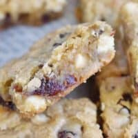 blondie propped on other blondies in pan