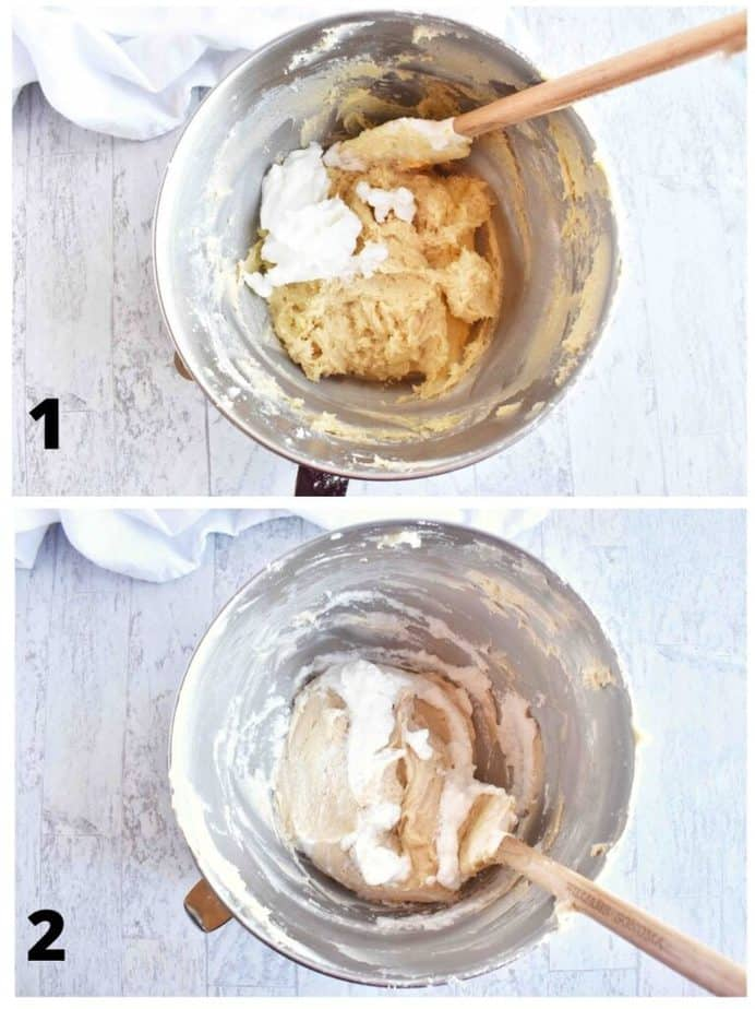 two images showing how to fold egg whites into the batter