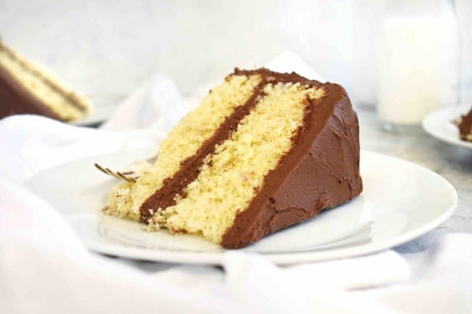 slice of cake on white plate