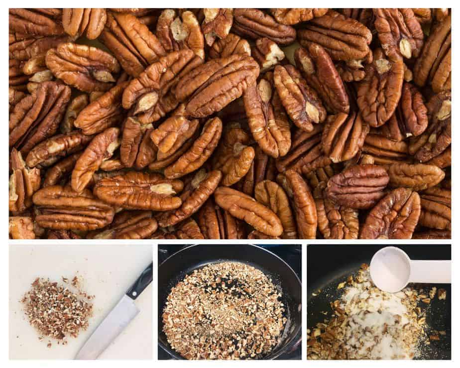 4 pictures of pecans and how to sugar them in a frying pan