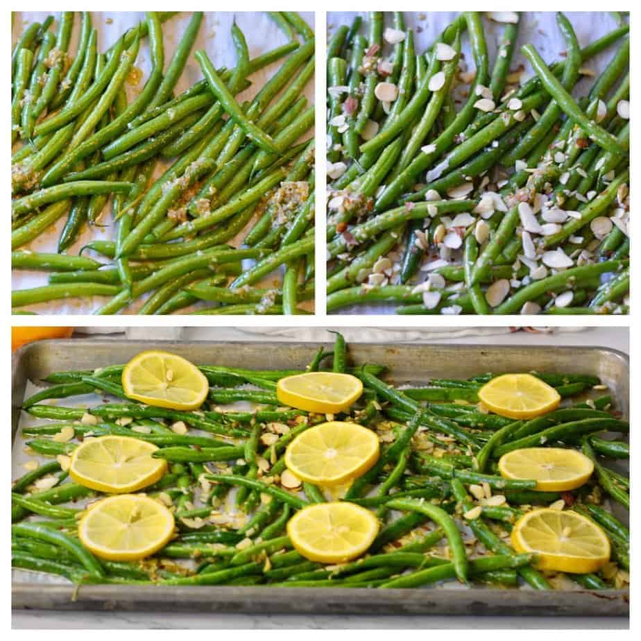collage of prep pictures for lemon garlic green beans with almonds
