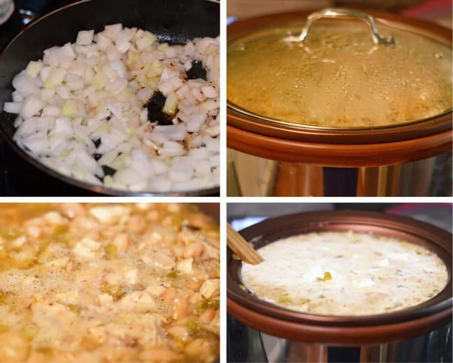 process picture making white chicken chili