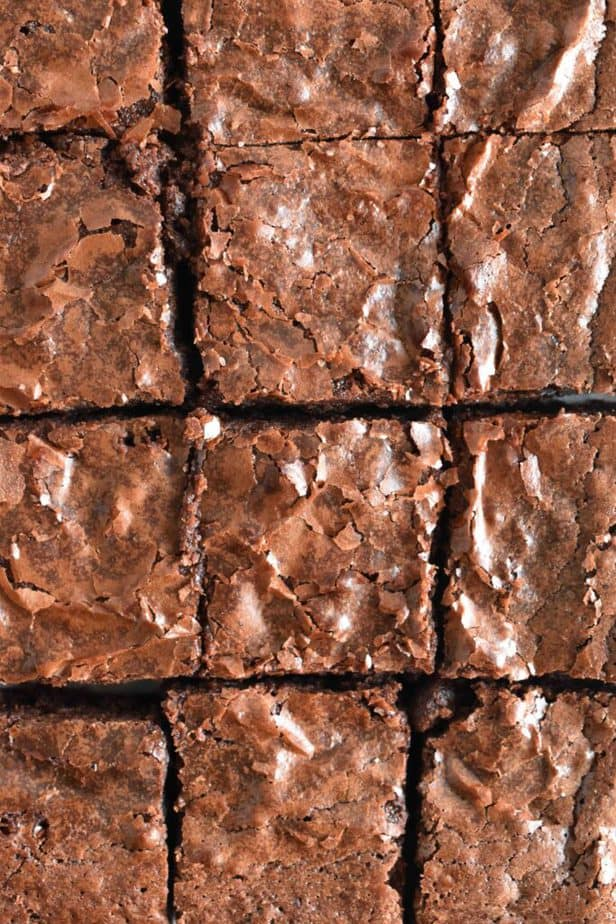 close up of brownie tops cut into squares