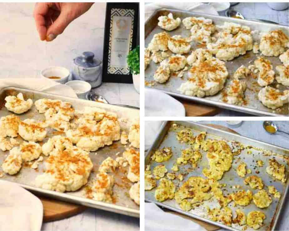 process picture showing how to sprinkle cauliflower with spices and roast it in the oven