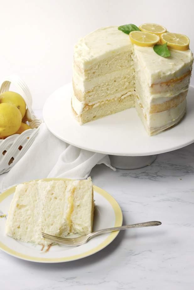 Vanilla cake with lemon curd, lemon cheesecake and lemon buttercream