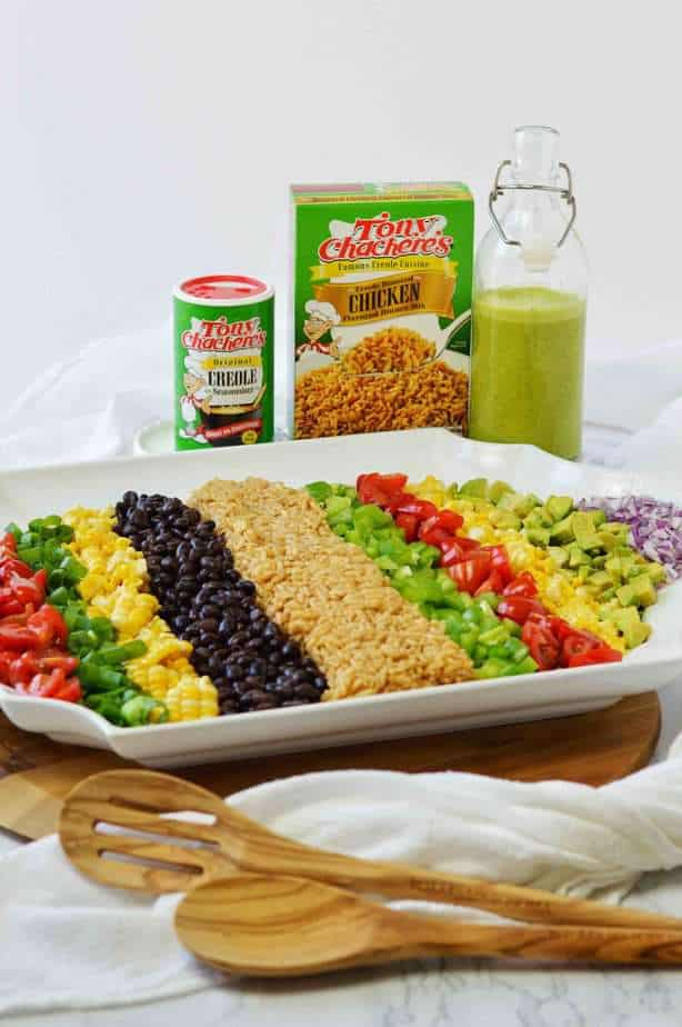 Tony Chachere's products with cowboy rice salad