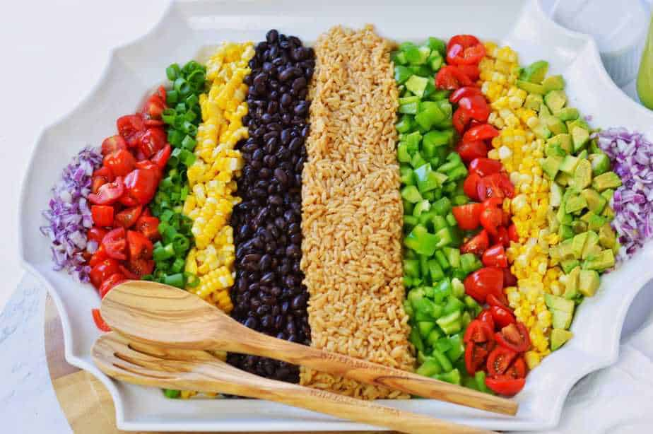 Rows of summer vegetables create Cowboy Rice Salad