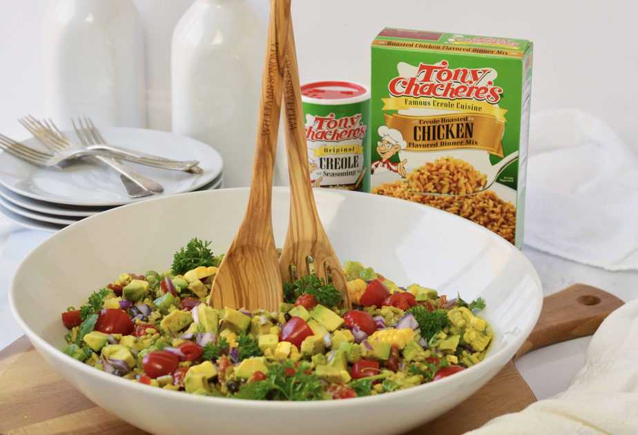 bowl of tossed cowboy rice salad with Tony Chachere's products