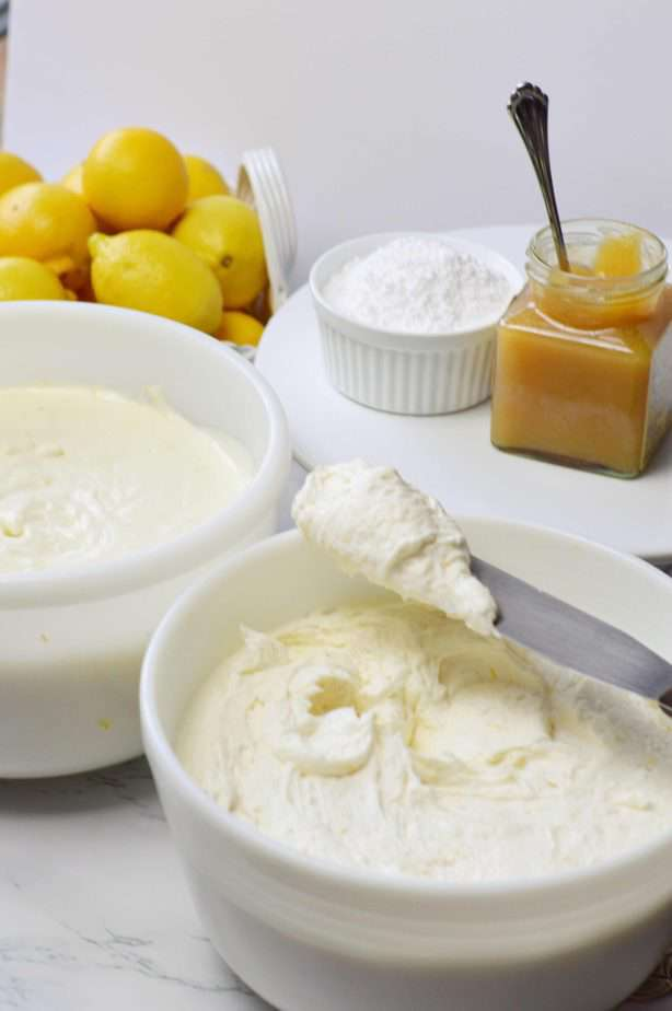 lemon curd, lemon butter cream and lemon cheesecake filling