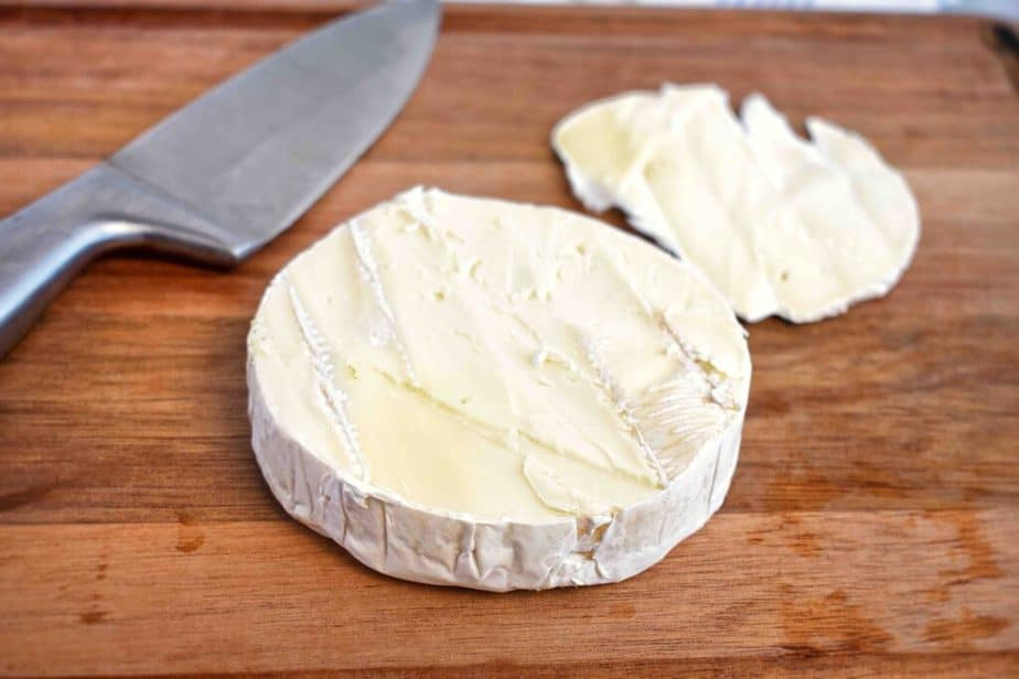 brie wheel with top rind sliced off