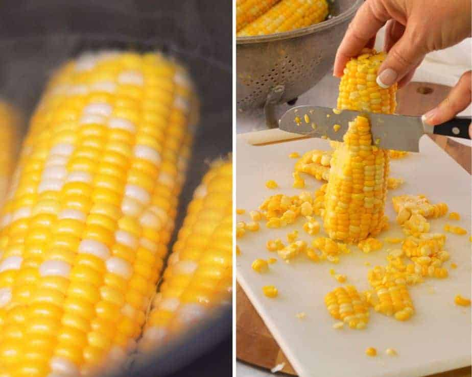 2 pictures with corn cooking, and slicing corn off Cobb