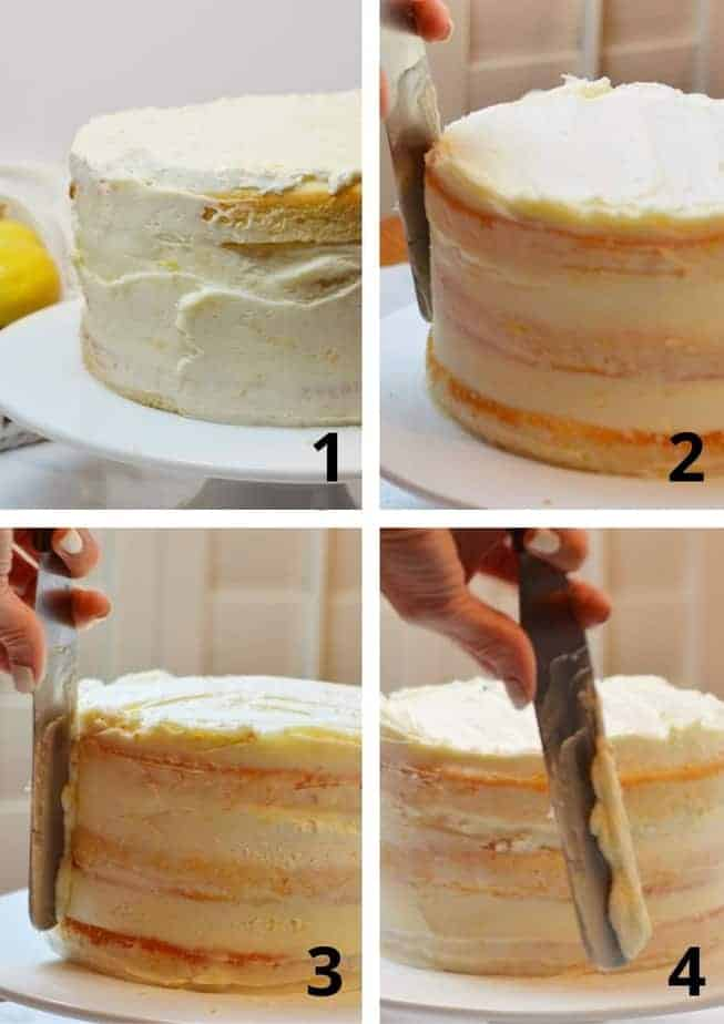 4 pictures showing how to frost a naked cake